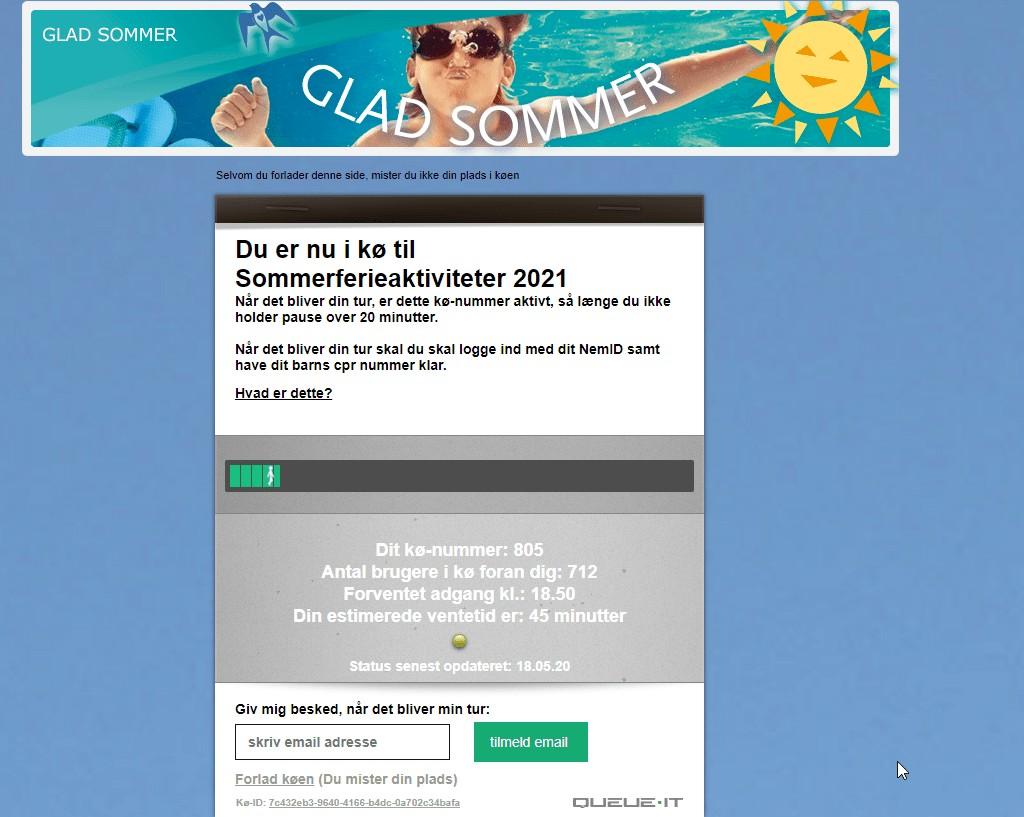 Kø til sommerferieaktiviteter